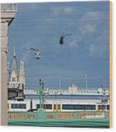 Helicopters Tower Bridge Wood Print