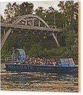 Hellgate Jet Boat And Caveman Bridge Wood Print