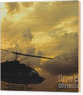 Helocopter In Clouds Wood Print