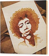 Hendrix Coffee Art Portrait Wood Print