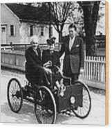 Henry Ford In His First Automobile Wood Print by Everett
