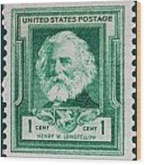 Henry W Longfellow Postage Stamp Wood Print