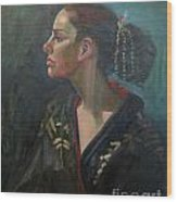 Her Kimono Wood Print by Lilibeth Andre