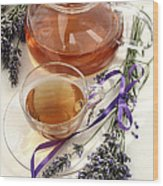 Herbal Tea And Lavender Wood Print