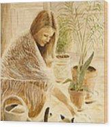 Here Kitty Wood Print by Rita Bentley