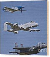 Heritage Flight Wings Over Whitman Wood Print by Linda Gardner-Goos
