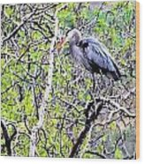 Heron Alone Wood Print