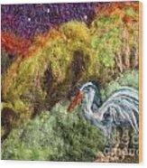 Heron At Night Wood Print