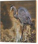 Heron Bronze Wood Print