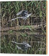 Heron Reflected In The Water Wood Print