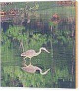 Heron Reflections1 Wood Print