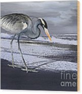 Heron Taking His Afternoon Beach Walk Wood Print by Danuta Bennett