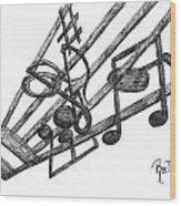 Hiding Among The Notes - Sketch Wood Print by Robert Meszaros