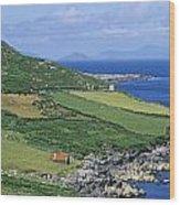 High Angle View Of A Coastline, Beara Wood Print