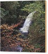 High Angle View Of A Waterfall, Glenoe Wood Print