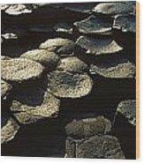 High Angle View Of Basalt Rocks, Giants Wood Print