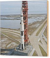 High Angle View  Of The Apollo 14 Space Wood Print