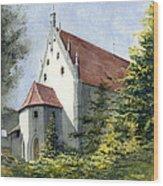 High Castle Courtyard Wood Print