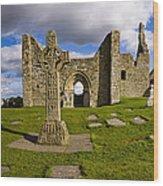 High Cross At Clonmacnoise, County Wood Print