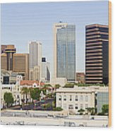 High Rise Buildings Of Downtown Phoenix Wood Print by Jeremy Woodhouse