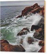 High Tide At Bass Harbor Head Wood Print