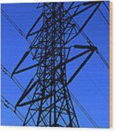 High Voltage Power Line Silhouette Wood Print