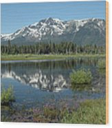 High Water Mt Tallac Reflections Wood Print