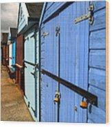 Highcliffe Beach Huts Wood Print