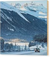 Highway In Winter Through Mountains Wood Print