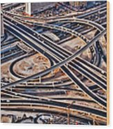 Highway Intersection Of Wood Print