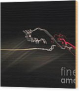 Highway Lighting Effects-red Bull Wood Print