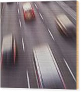 Highway Traffic In Motion Wood Print