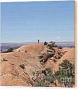 Hiker At Edge Of Upheaval Dome - Canyonlands Wood Print