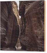 Hikers In The Siq Canyon Leading Wood Print by Gordon Wiltsie