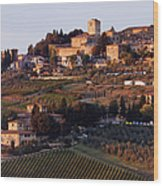 Hill Town Of Panzano At Dusk Wood Print by Jeremy Woodhouse
