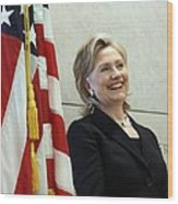 Hillary Clinton Speaks At The U.s Wood Print by Everett