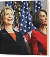 Hillary Clinton Stands With Speaker Wood Print
