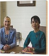 Hillary Clinton Visited Daw Aung San Wood Print
