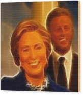 Hillary Rodham Clinton - United States Secretary Of State - Bill Clinton Wood Print by Lee Dos Santos