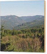 Hills And Trees Wood Print
