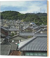 Hillside Village In Japan Wood Print