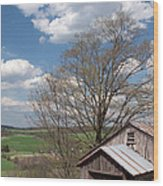 Hillside Weathered Barn Dramatic Spring Sky Wood Print