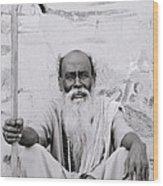 Hindu Holyman In Benares Wood Print