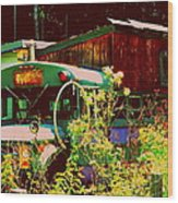 Hippie Camping Wood Print by Cindy Wright