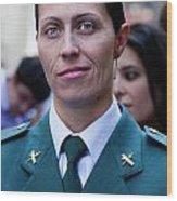 Hispanic Columbus Day Parade Nyc 11 9 11 Female Spanish Police O Wood Print