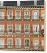 Historic Facade At Plaza Mayor In Madrid Wood Print
