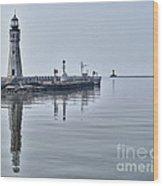 Historic Lighthouse On Lake Erie Wood Print