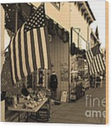 Historic Niles District In California Near Fremont . Main Street . Niles Boulevard . 7d10692 . Sepia Wood Print by Wingsdomain Art and Photography