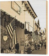 Historic Niles District In California Near Fremont . Main Street . Niles Boulevard . 7d10693 . Sepia Wood Print by Wingsdomain Art and Photography