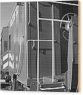 Historic Niles District In California Near Fremont . Western Pacific Caboose Train . 7d10622 . Bw Wood Print by Wingsdomain Art and Photography
